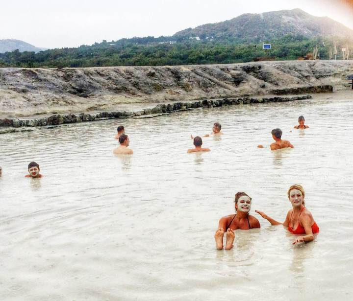 free facials! Natural mud baths on an active volcanoes.