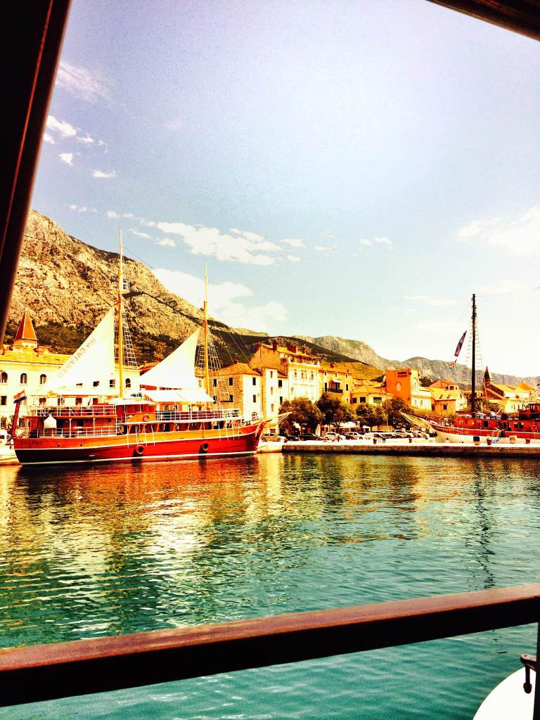 View from my cabin entering the port of  Makarska