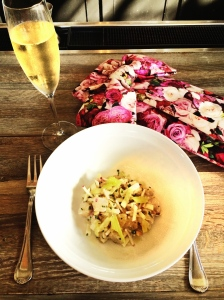 Seeing the rosey side of things with fresh fish ceviche and a glass of bubbly